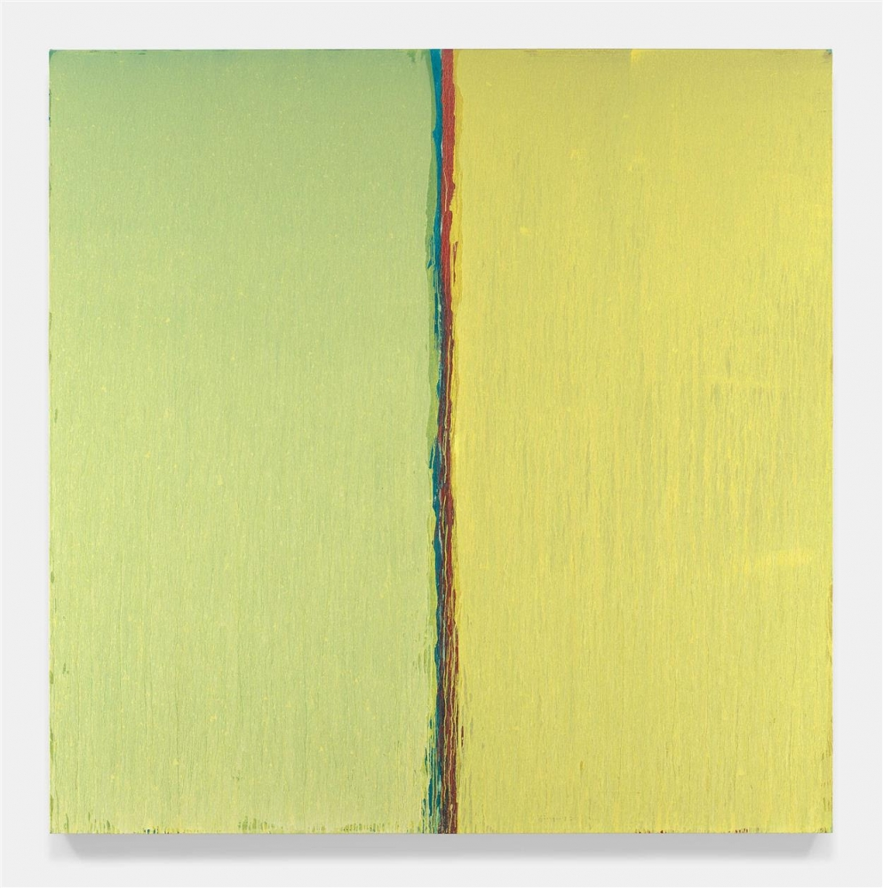 Yellow oil painting by Pat Steir