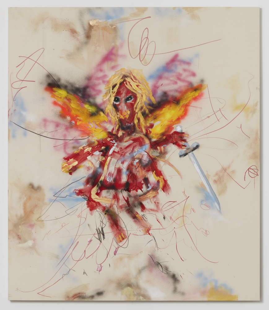 Acrylic and grease pencil on canvas painting by Robert Nava titled Seraphim and Clouds, 2020