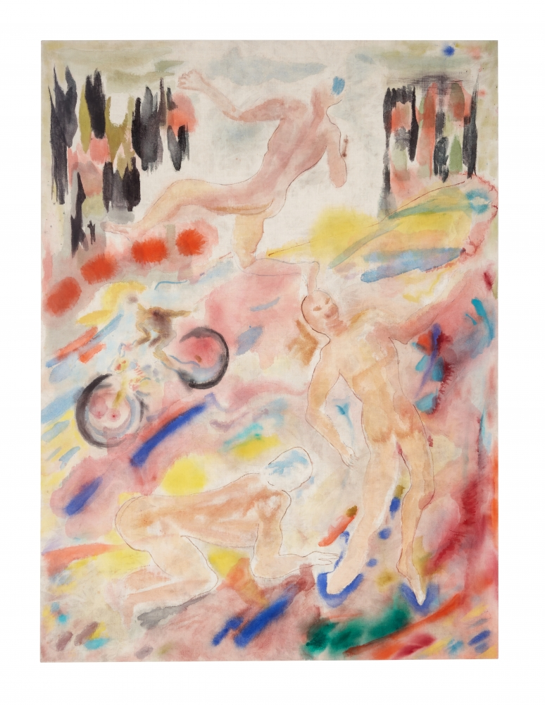 Watercolor on linen painting of nude men and motorcycles in Hollywood by Gus Van Sant
