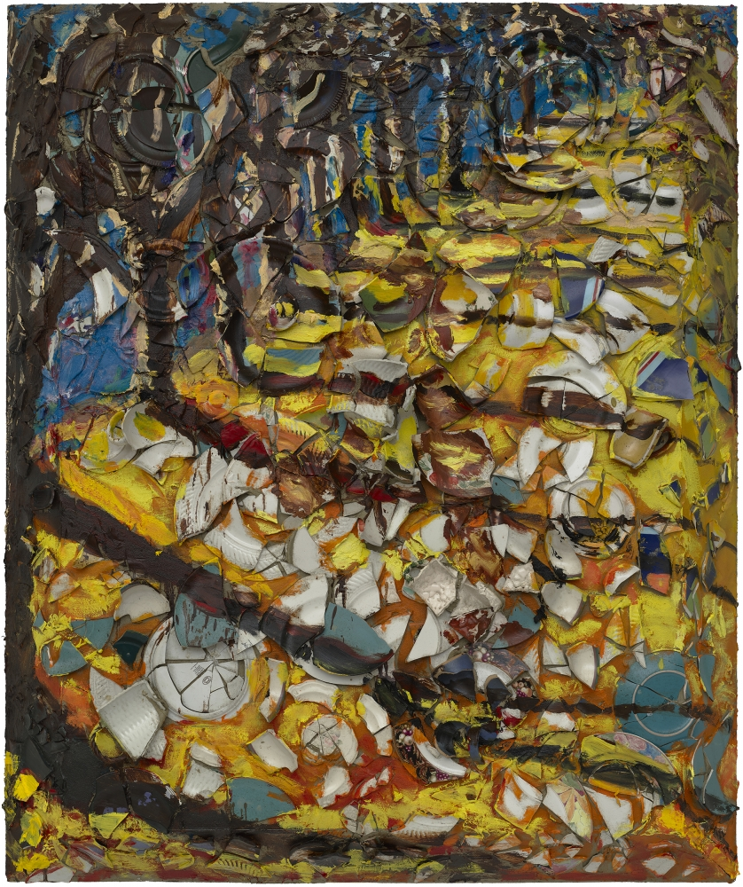"""Julian Schnabel's """"Trees of Home (for Peter Beard) 6,"""" from this year, is a composition of oil, plates, and Bondo on wood."""
