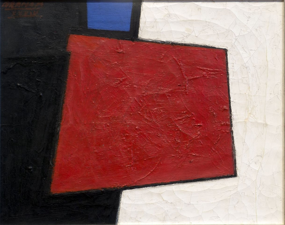 Painting split diagonally in half with a black section on the left and white section on the right. In the middle is a red, rhombus with a blue square on the black side above it.