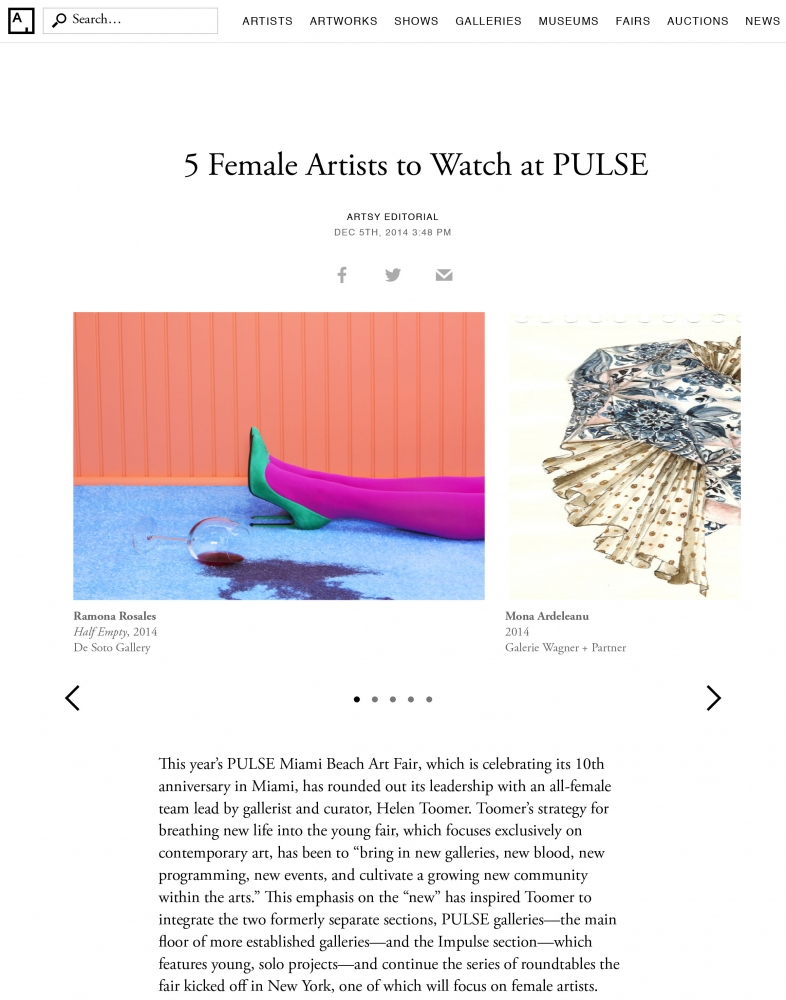 Ramona Rosales is One of Five Female Artists to Watch at PULSE Miami 2015