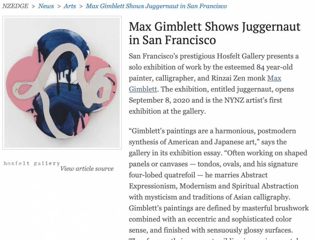 Max Gimblett Shows Juggernaut in San Francisco