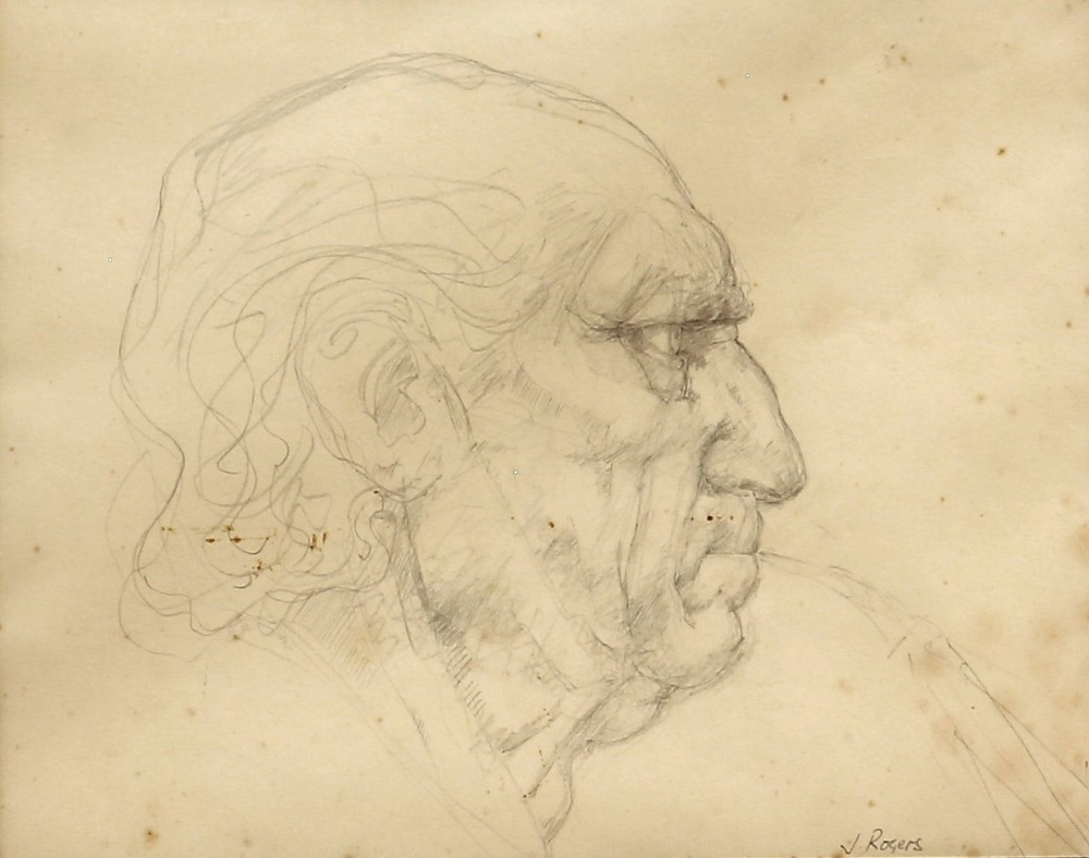 """Jack Martin Rogers. Uilleann Piper""""(c. 1981). Pencil on paper.  at Anita Rogers Gallery"""