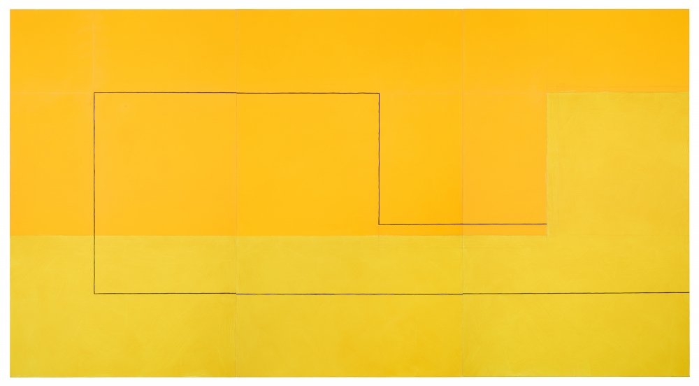 "Jan Cunningham. Yellow Triptych,. 2018. OIl on linen. 60"" x 111"""