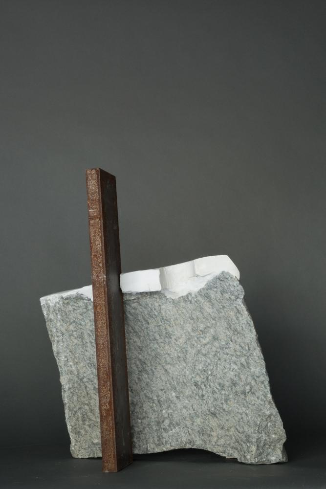 "Mark Webber. Untitled. Hydrocal, steel, stone. 23"" x 15"" x 9"""