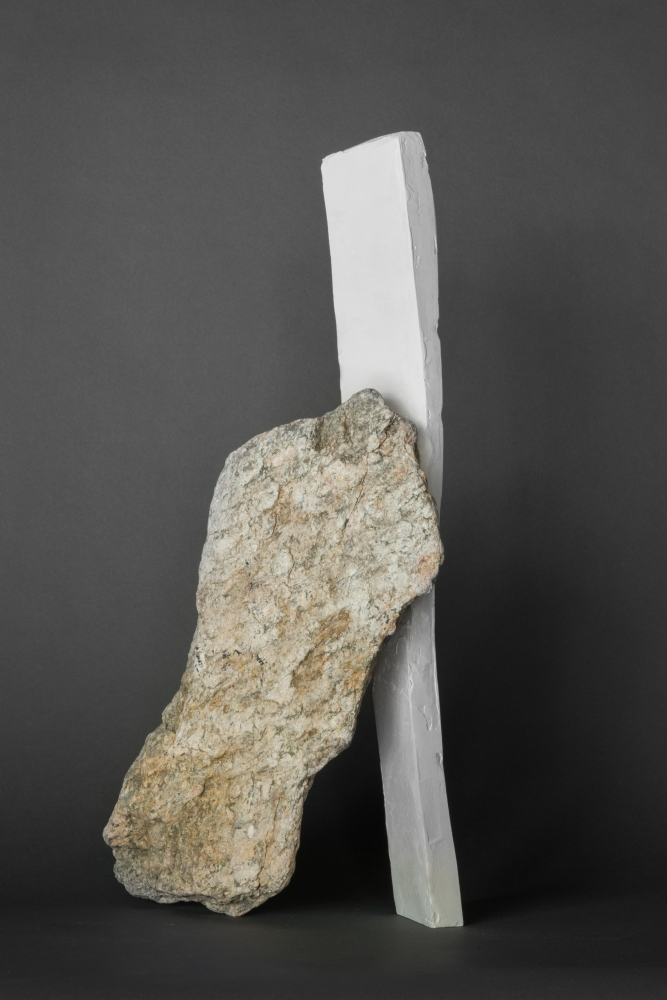 """Mark Webber. Untitled (Structures Series). 2019. Stone and hydrocal. 22"""" x 12"""" x 15"""""""