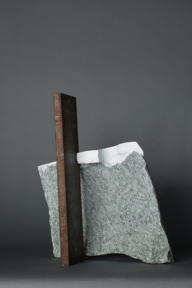"Mark Webber. Untitled. 2019. Stone, Hydrocal, Steel. 23"" x 15"" x 9"" at Anita Rogers Gallery"