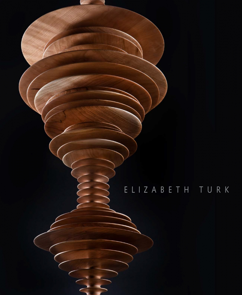 "cover to exhibition catalogue for Elizabeth Turk, ""Tipping Point—Echoes of Extinction"", showing wooden discs stacked on each other"