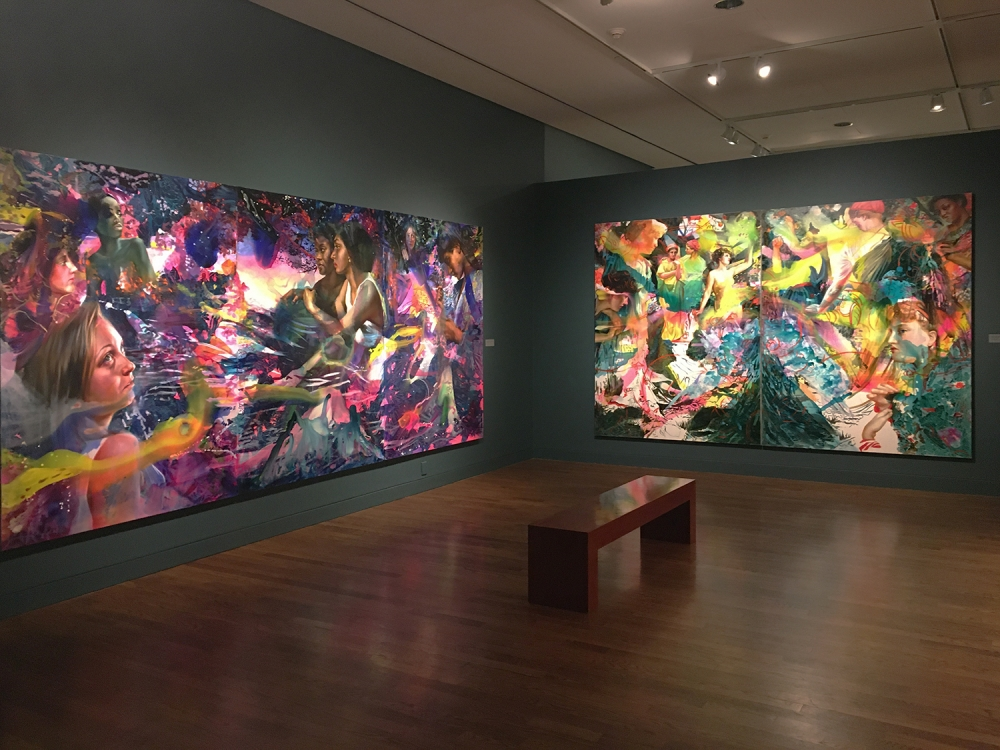 "installation view of Angela Fraleigh, ""Sound the Deep Waters"", at the Delaware Art Museum"