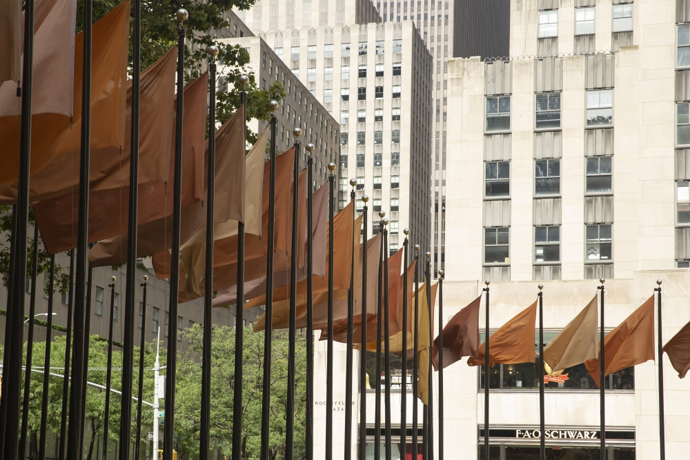 Installation of Andy Goldsworthy, Red Flags, 2020, at Frieze Sculpture, Rockefeller Center, New York City. Photograph by Jon Cancro.