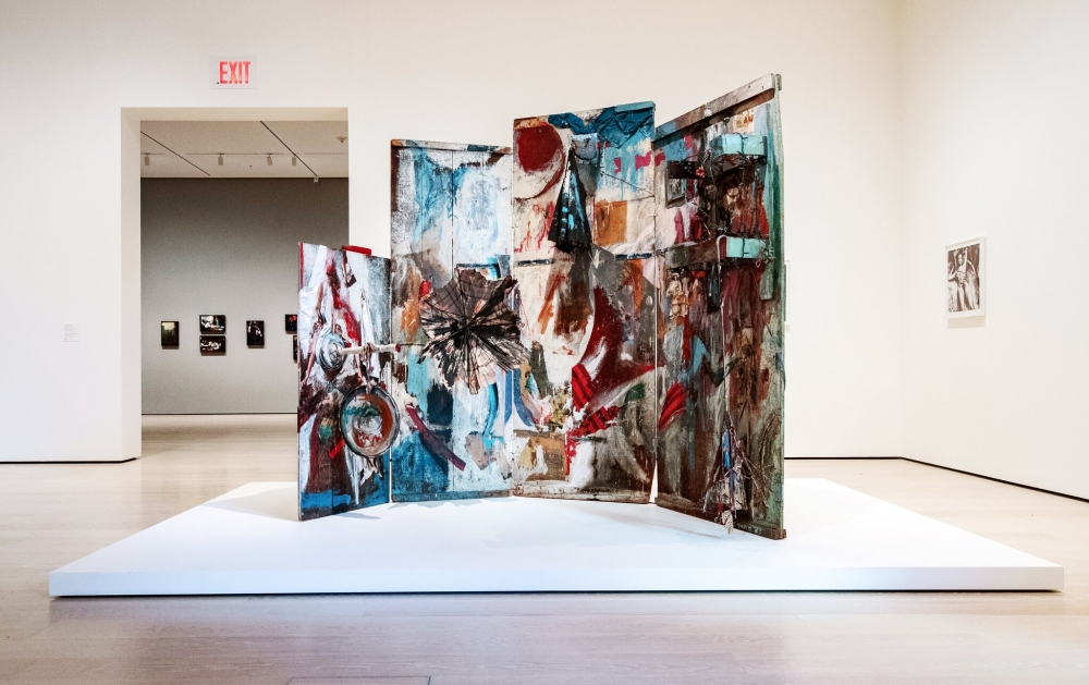"""Carolee Schneemann's kinetic sculpture """"Four Fur Cutting Boards,"""" from 1962-63, at the Museum of Modern Art.Credit...The Carolee Schneemann Foundation/ Artist Rights Society (ARS), New York; Jeenah Moon for The New York Times"""