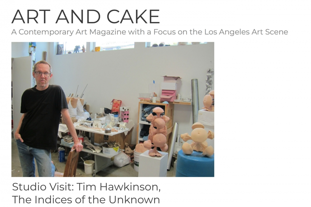 Tim Hawkinson standing in his studio in Los Angeles