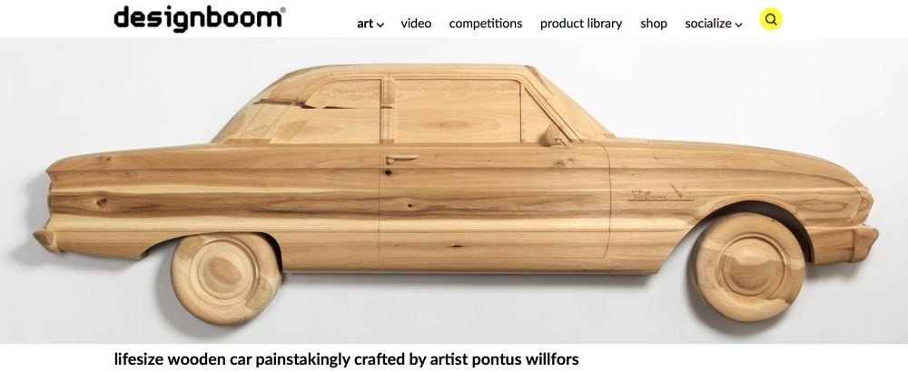 designboom - Lifesize wooden car painstakingly crafted by artist Pontus Willfors