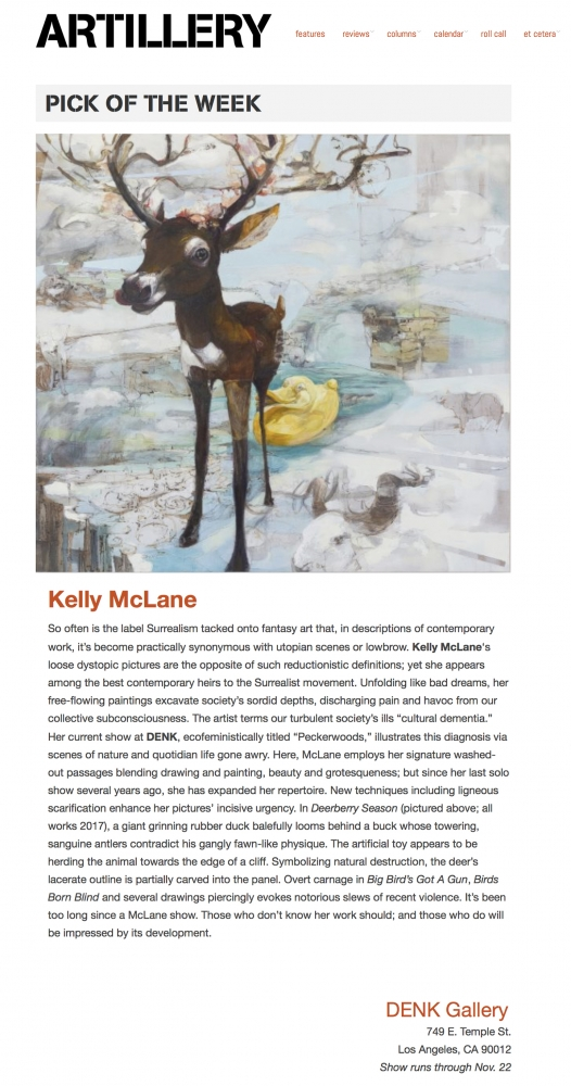 LA Based Artillery Magazine choses features Kelly McLane as their pick of the week.