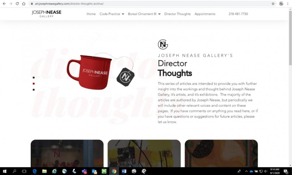 September 1, 2020: Alternate website and Director Thoughts