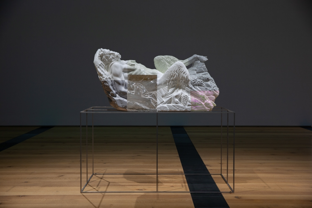 Oliver Laric, Reclining Pan sculpture on base