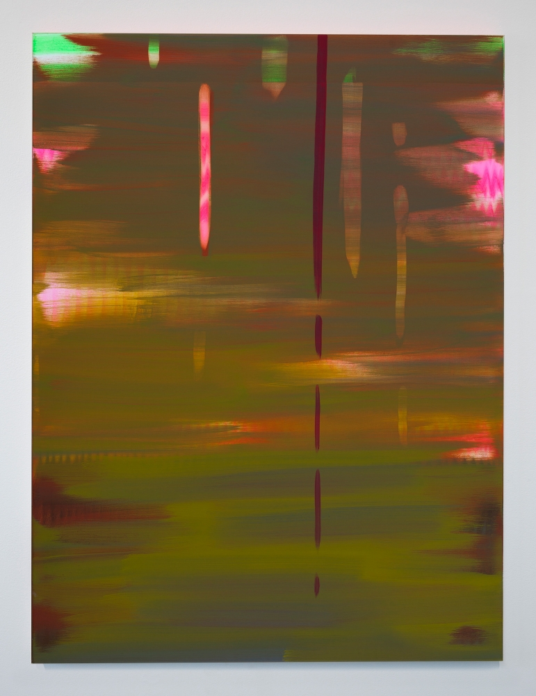 "Wanda Koop, ""Reflect (Moss Green-Lily Pink),"" 2018"