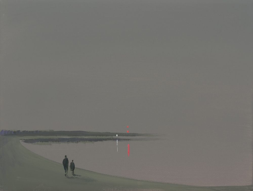 """Deep Bay (Gray distant lights - figures),"" 2007"