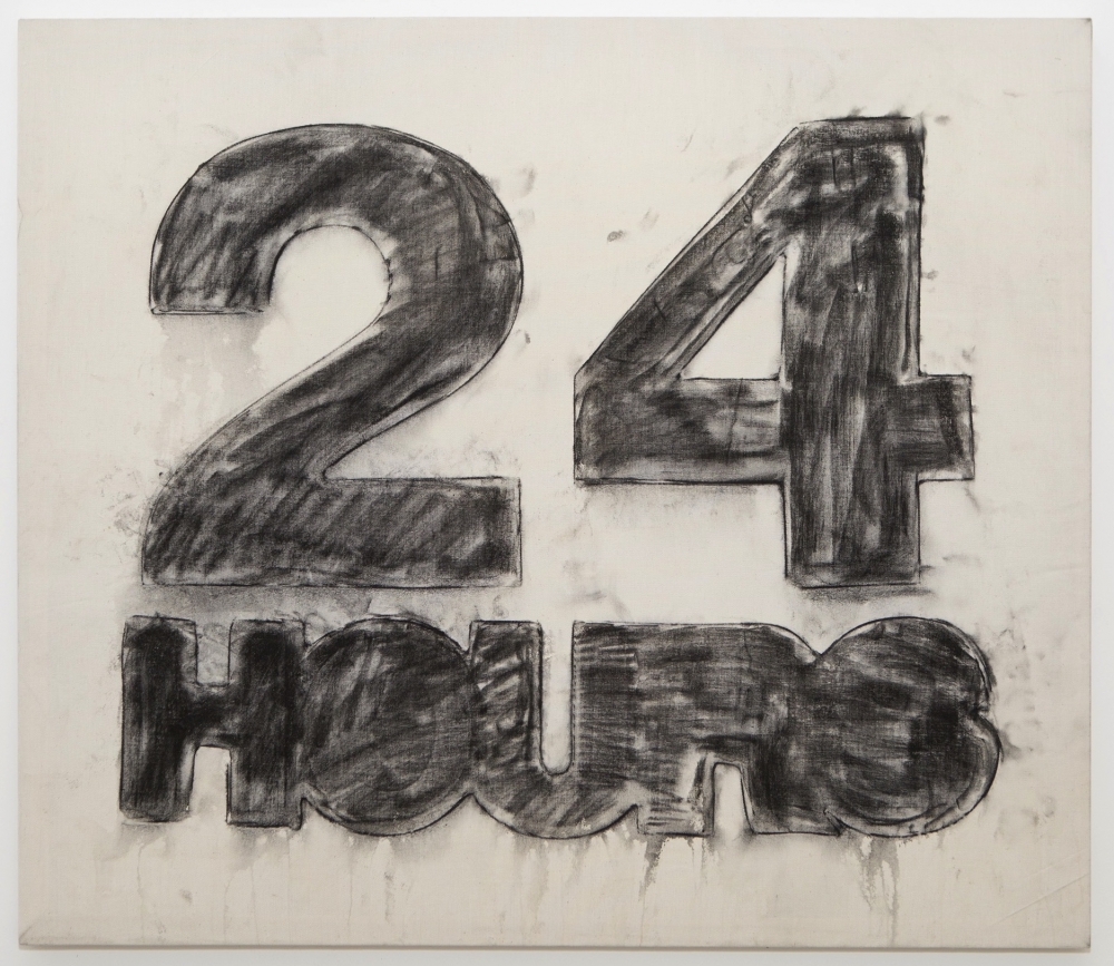 """24 Hours,"" charcoal on canvas, 2013"