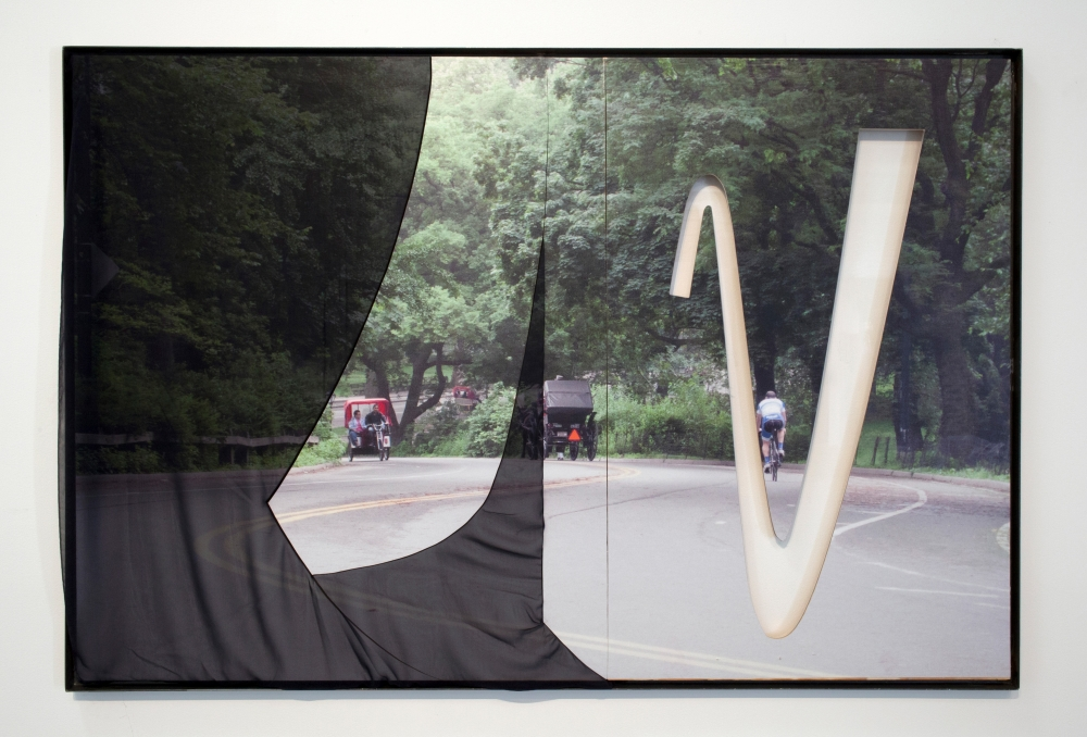 """Central Park (Three Riders, Motherwell)"", 2015. Inkjet on adhesive vinyl, silk chiffon, plexiglass, plywood, iron frame. 72 x 60 inches."