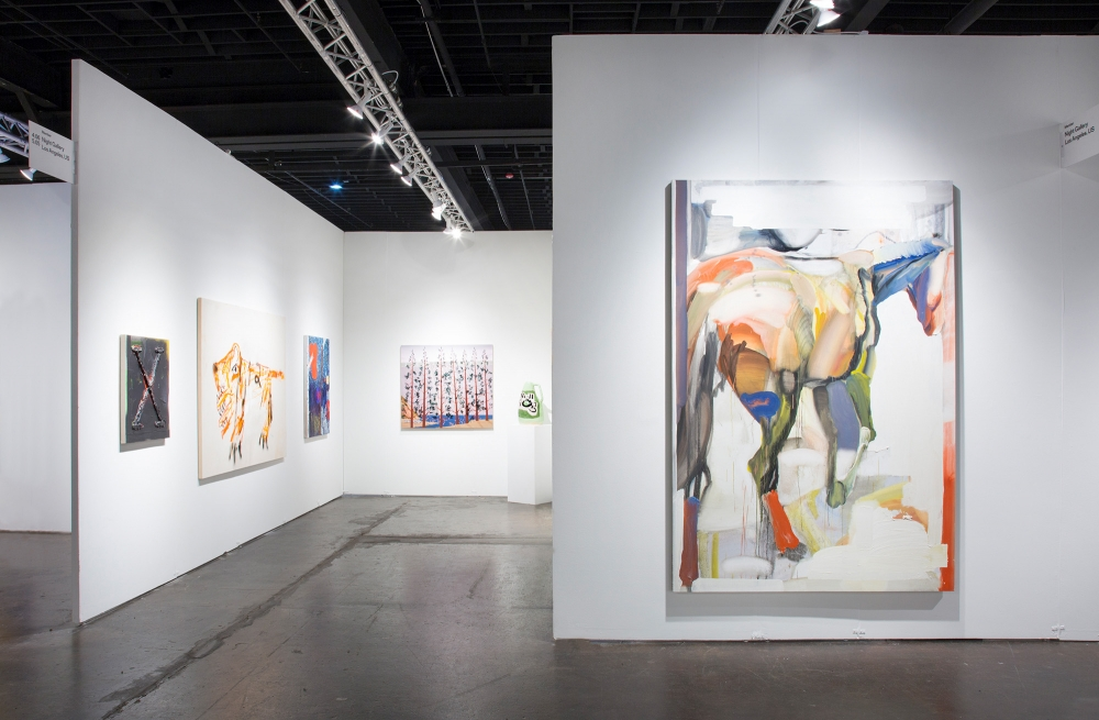 Installation view at NADA Miami, 2018. Foreground: Andy Woll.