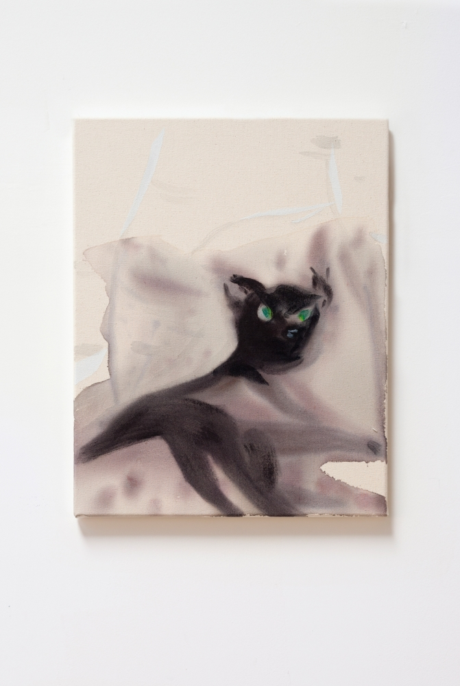 """Black Cat with Green Eyes,"" 2015. Acrylic and aqua-oil on canvas. 16 x 20 in."