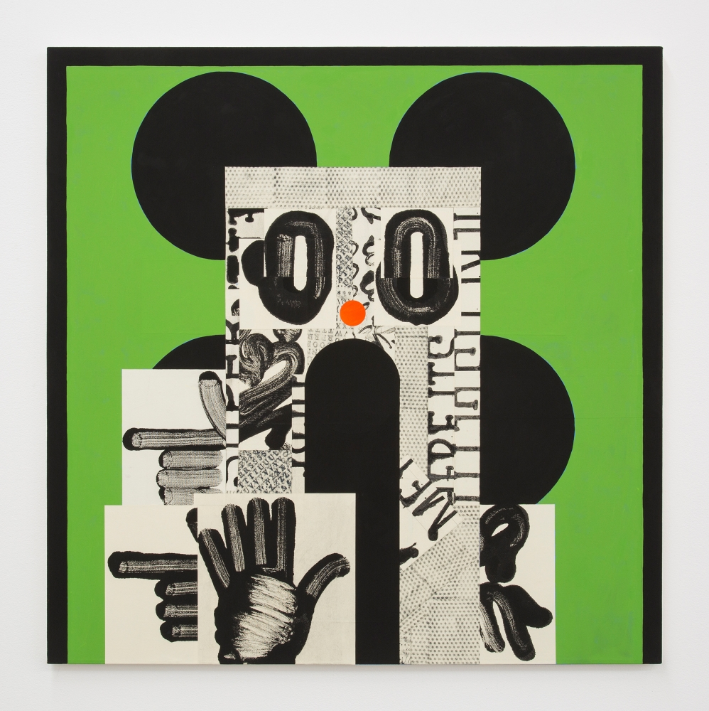 "David Korty, ""Face on green with four black ears,"" 2019"
