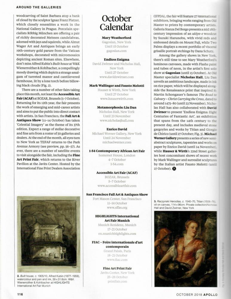 Apollo Magazine | October Calendar