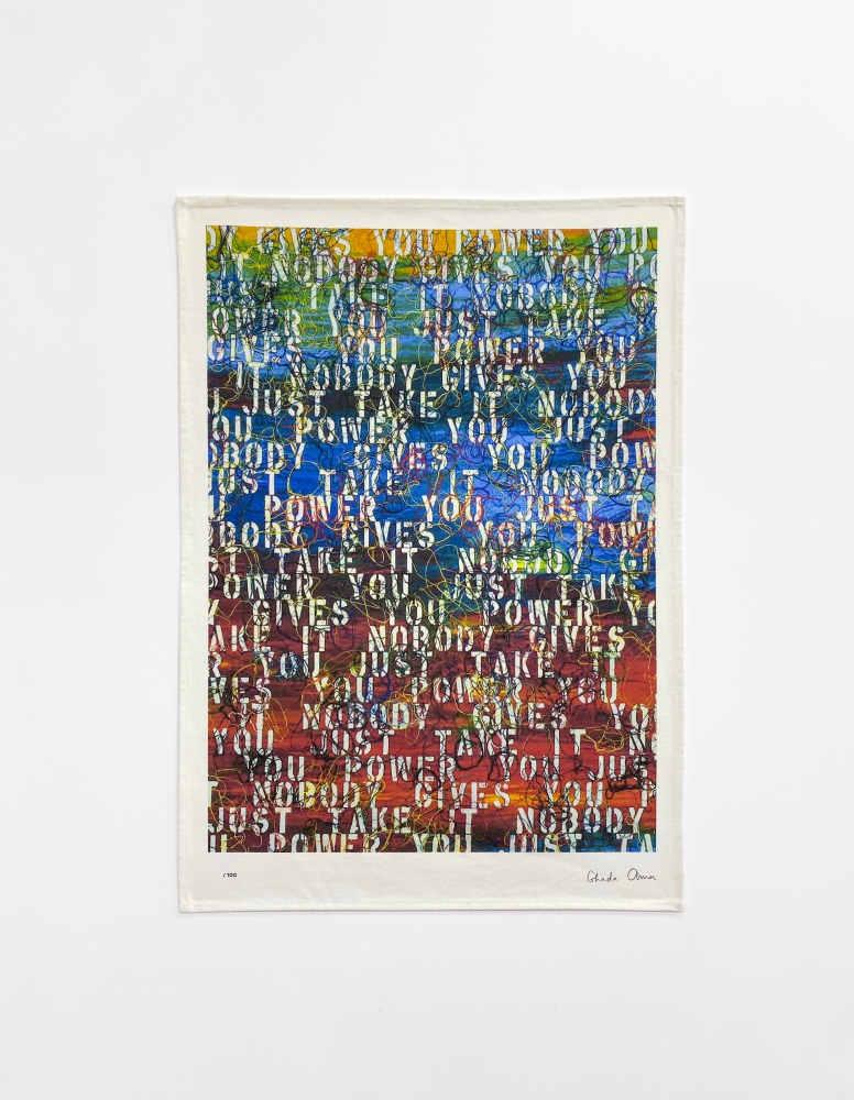 Ghada Amer (b. 1963) Untitled (based on Sunset with Words - RFGA, 2013), 2020 Limited edition artist print on high-quality cotton 19 7/10 × 27 3/5 in 50 × 70 cm Edition of 100