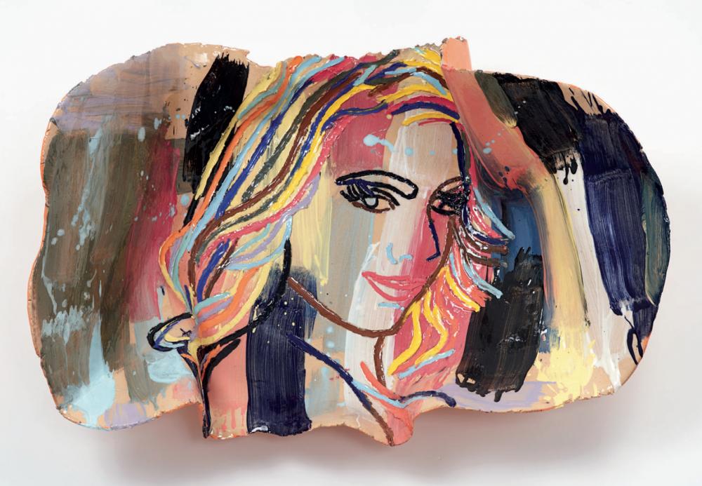 Ghada Amer, Femme sur fond cobalt, 2017, Glazed ceramic, Tina Kim Gallery