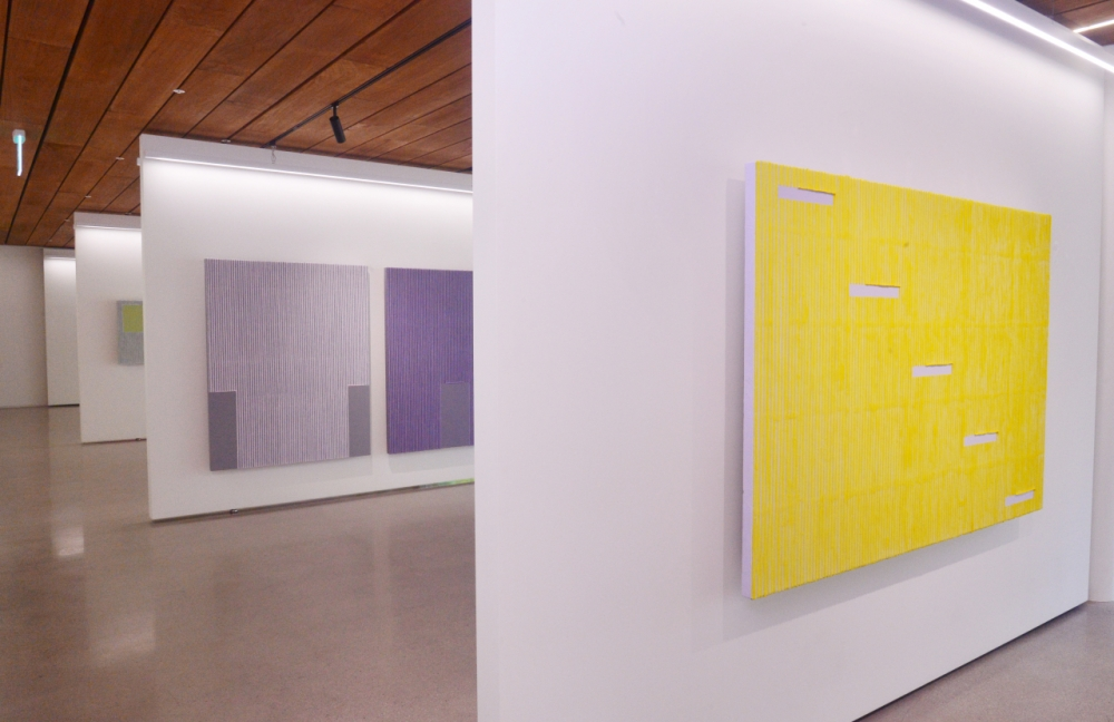 Installation view of Park Seo-bo's color Ecriture series are displayed at the gallery in the Gizi Art Base.