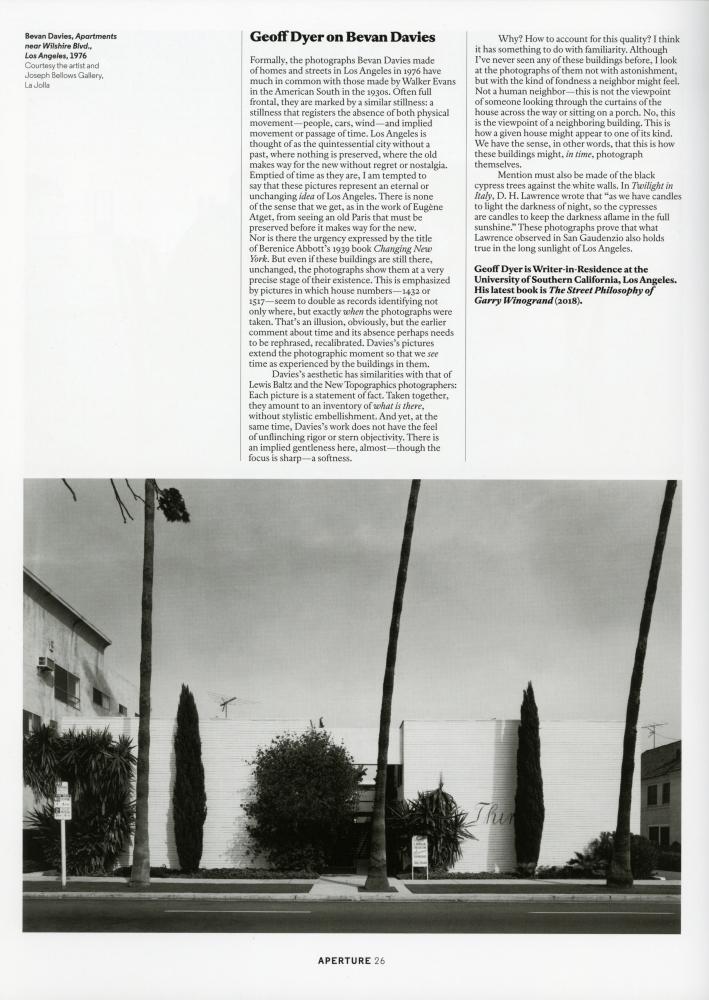 Bevan Davies featured in Aperture