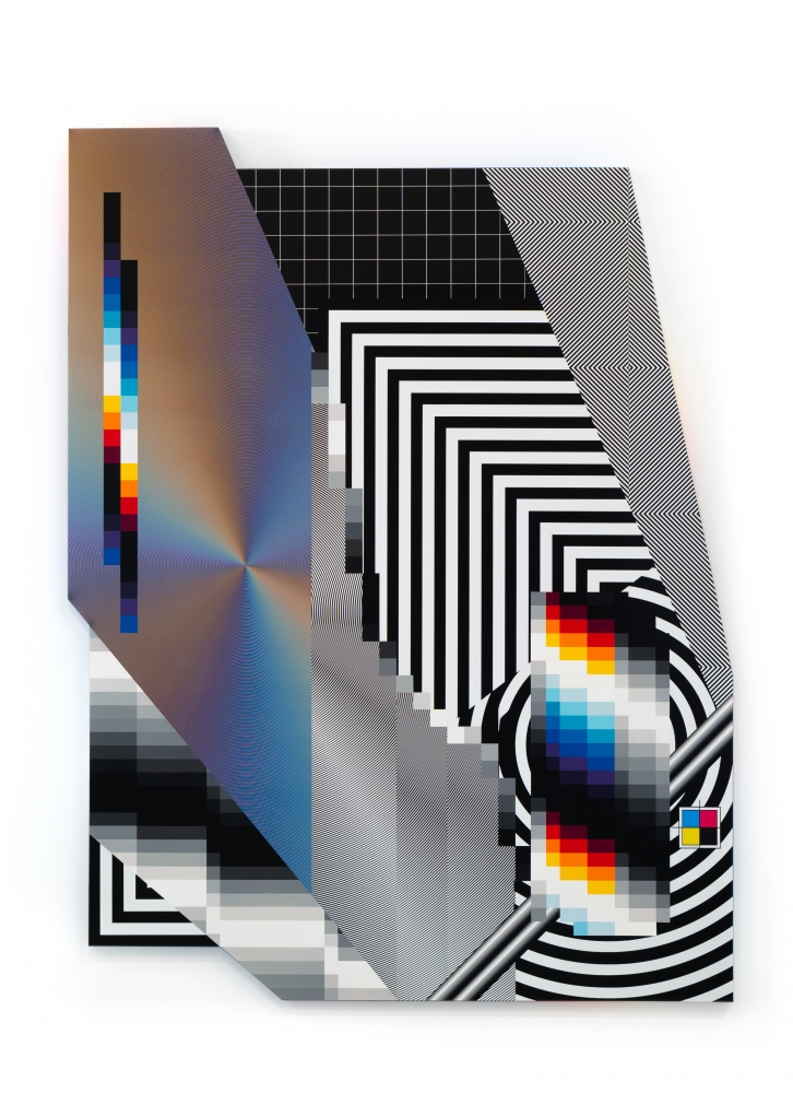Felipe Pantone OPTICHROMIE MSS, Enamel and UV paint on aluminum composite panel, 210 x 150 cm.