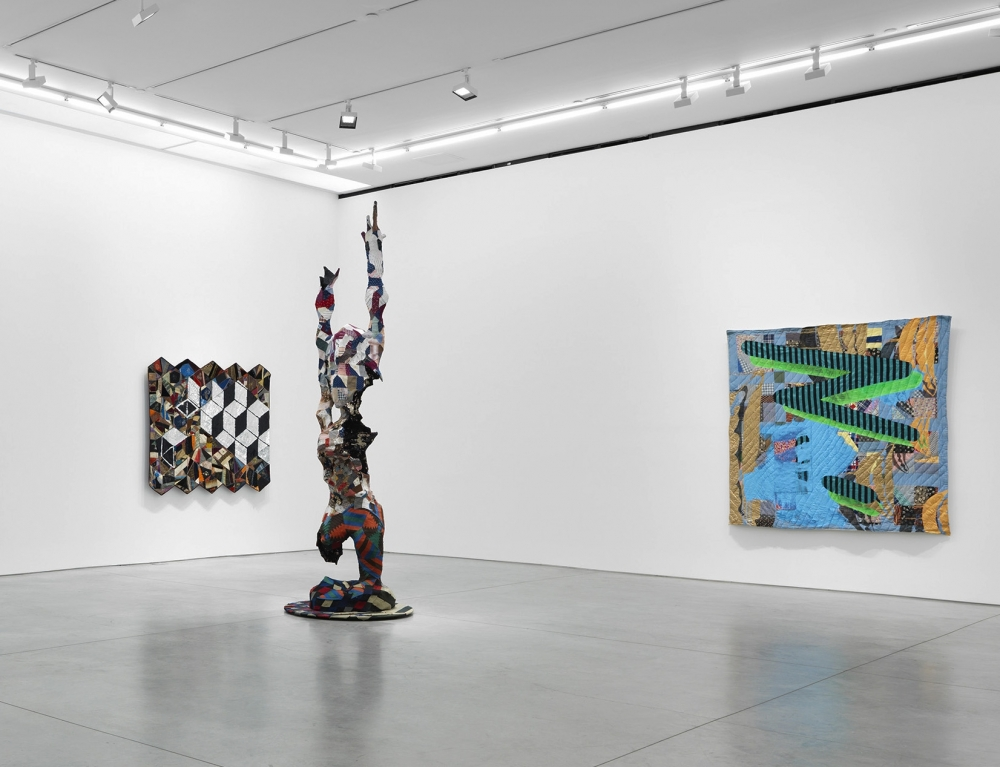 An Exhibition view of Sanford Biggers's art that was reviewed by an art critic