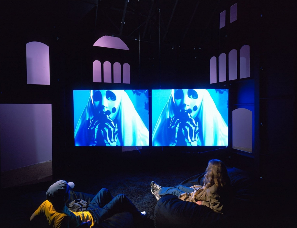 sue de beer film installation in a museum