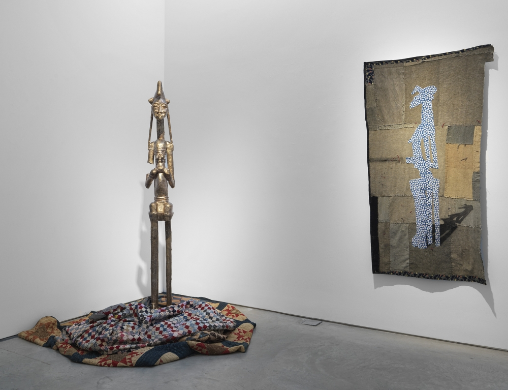 Installation view of Sanford Biggers's exhibition that was reviewed by ArtForum as a top exhibition