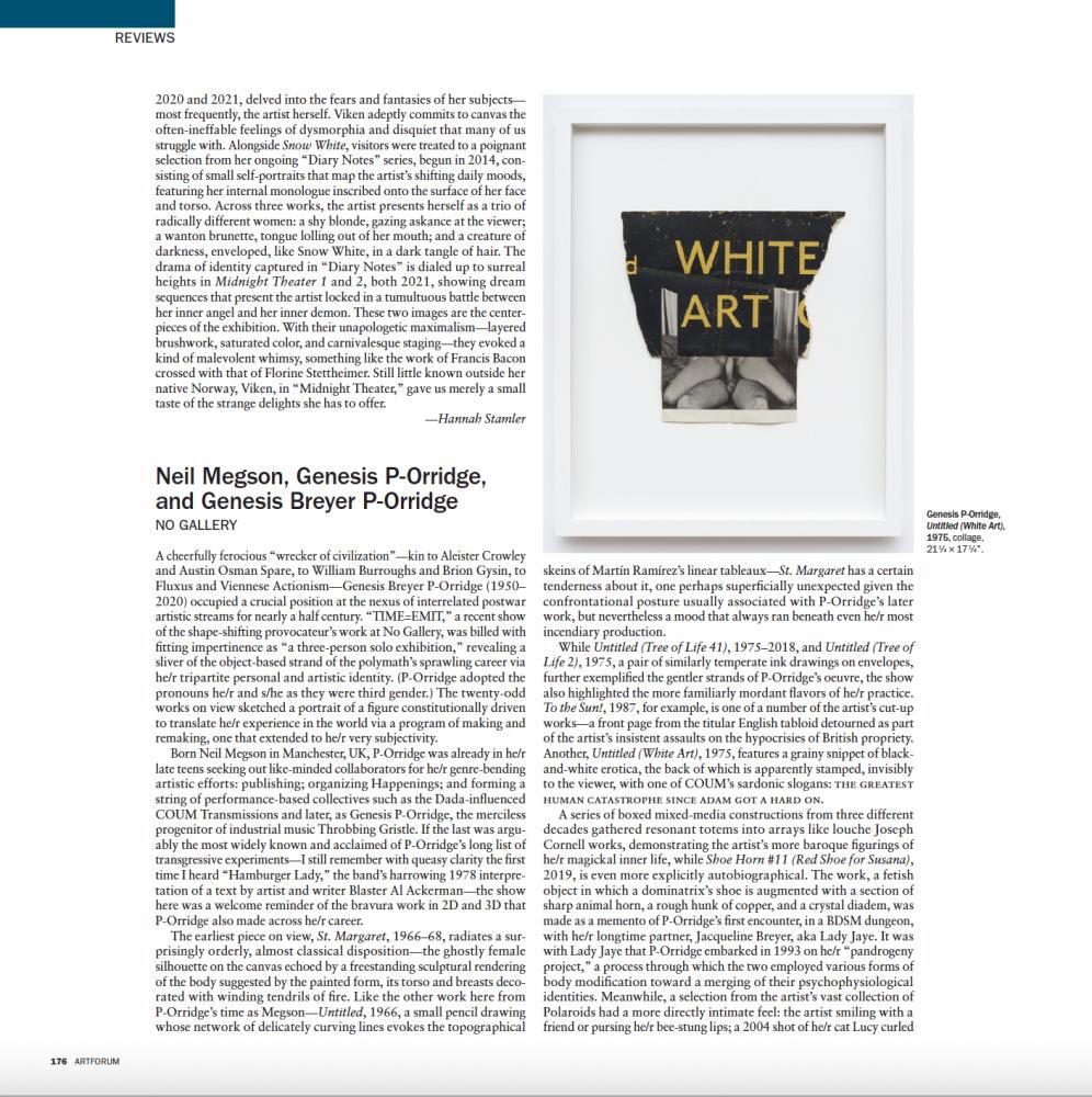 Jeffrey Kastner in-print Art Forum review (page 176-177 OCTOBER 2021 issue)
