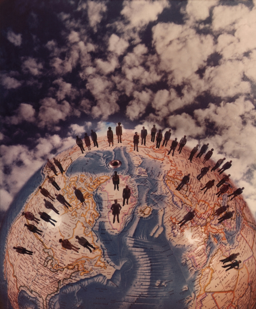 David Attie, Untitled, c. 1970. Composite color photo featuring a globe against a background of sky and clouds. Various human figure silhouettes stand on the globe.