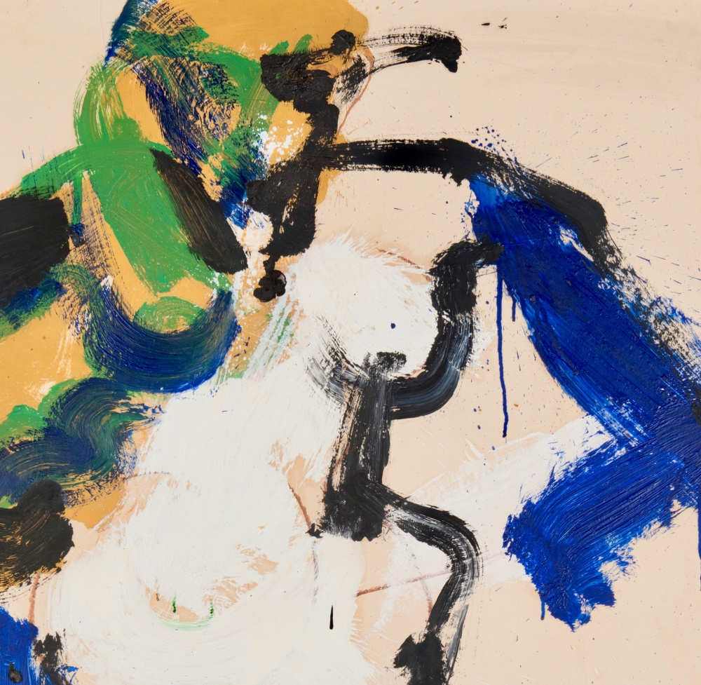 Norman Bluhm, Untitled (detail), 1966, acrylic on board mounted on Masonite, 37 x 30.5 inches.