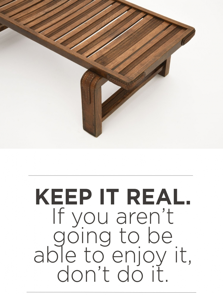 "top image is a detail of the bench by Jacques Adnet and below is the quote from Robert Stilin "" Keep it real. If you aren't going to be able to enjoy it, don't do it."""