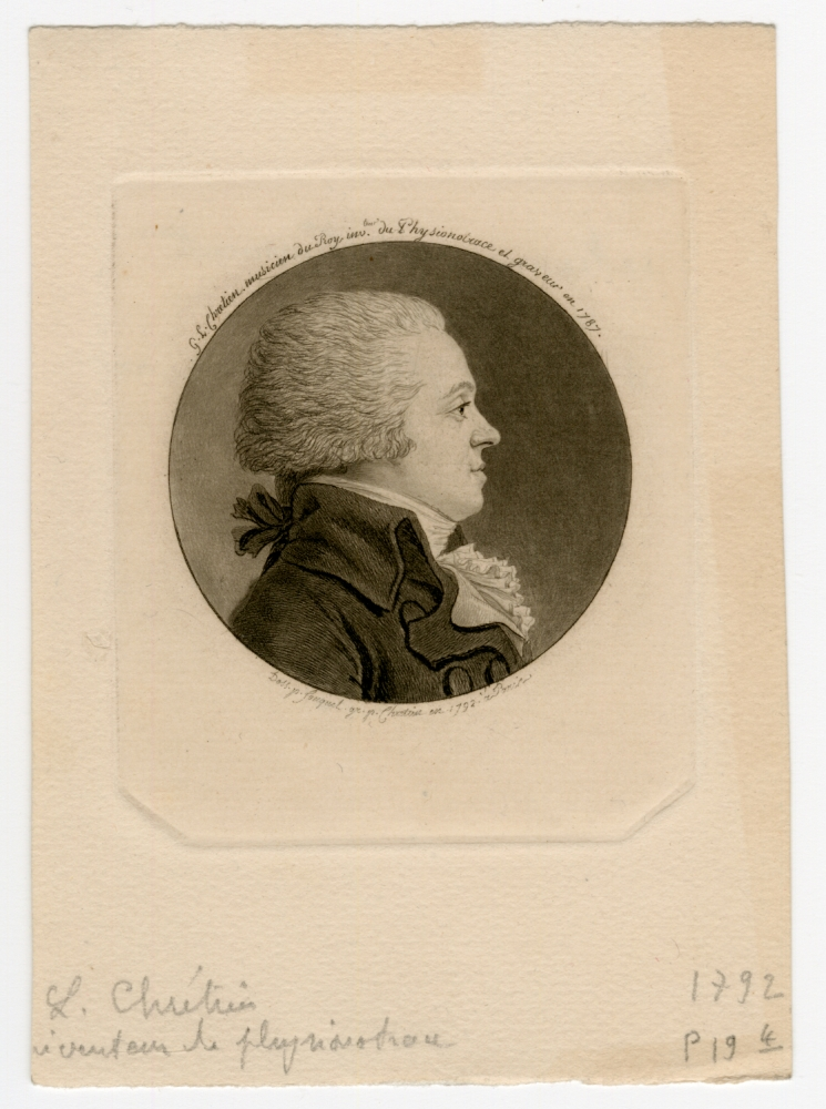 Gilles-Louis CHRÉTIEN (French, 1754-1811) Self portrait, 1792 Physiognotrace, after a drawing by Jean Fouguet 5.3 cm tondo on 7.7 x 6.7 cm plate on 12.1 x 8.7 cm paper, after 1811