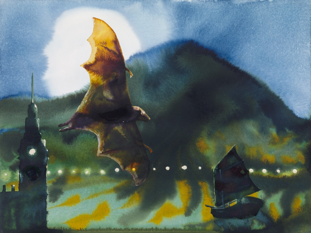 watercolor of a bat flying at night with the moon and a mountain in the background and a boat and tower in the foreground