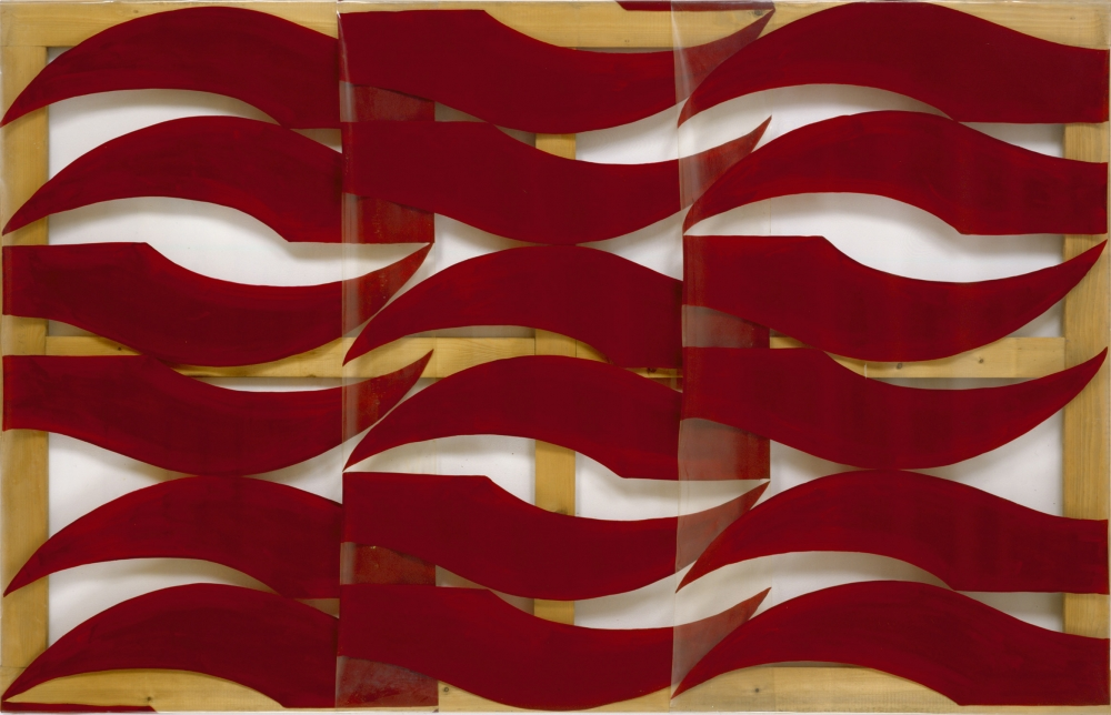 bands of wavy red paint on transparent plastic over a wood stretcher