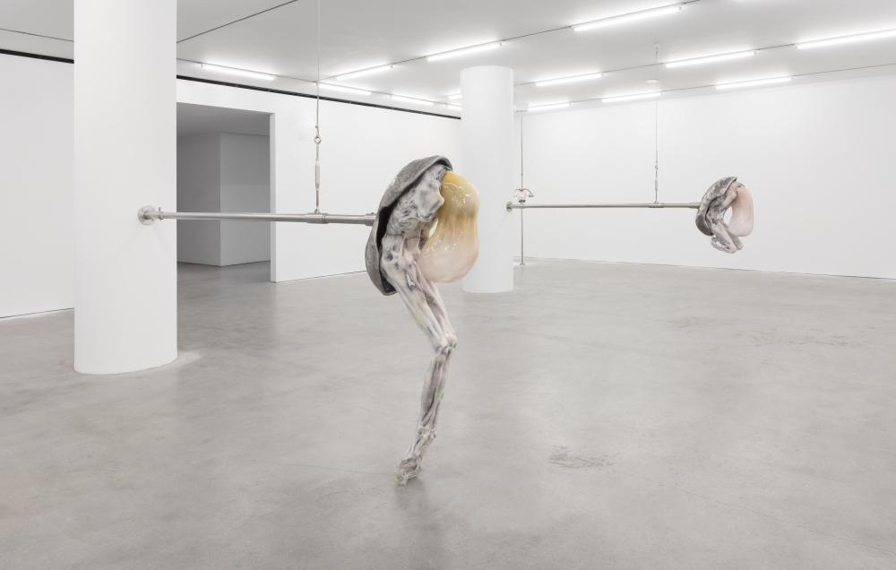 Installation view featuring Ivana Bašić's sculptures depicting elongated figurative creatures