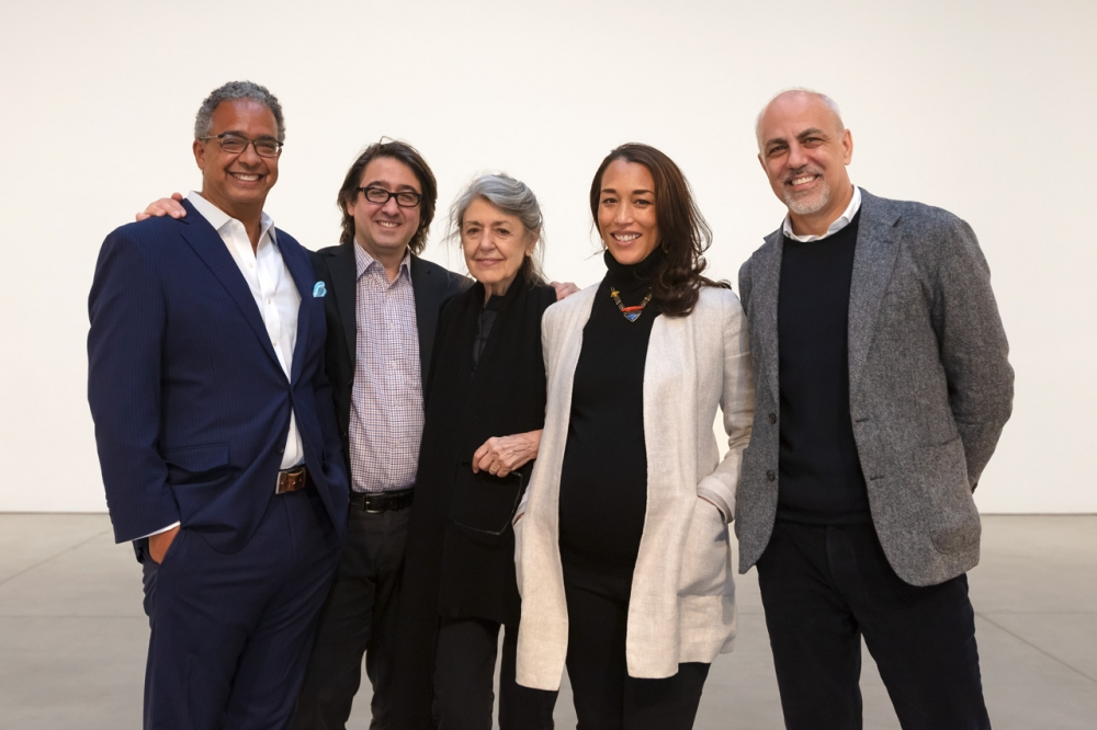 A portrait of the partners with Paula Cooper. From left to right: Steve Henry, Lucas Cooper, Paula Cooper, Alexis Johnson, Anthony Allen.