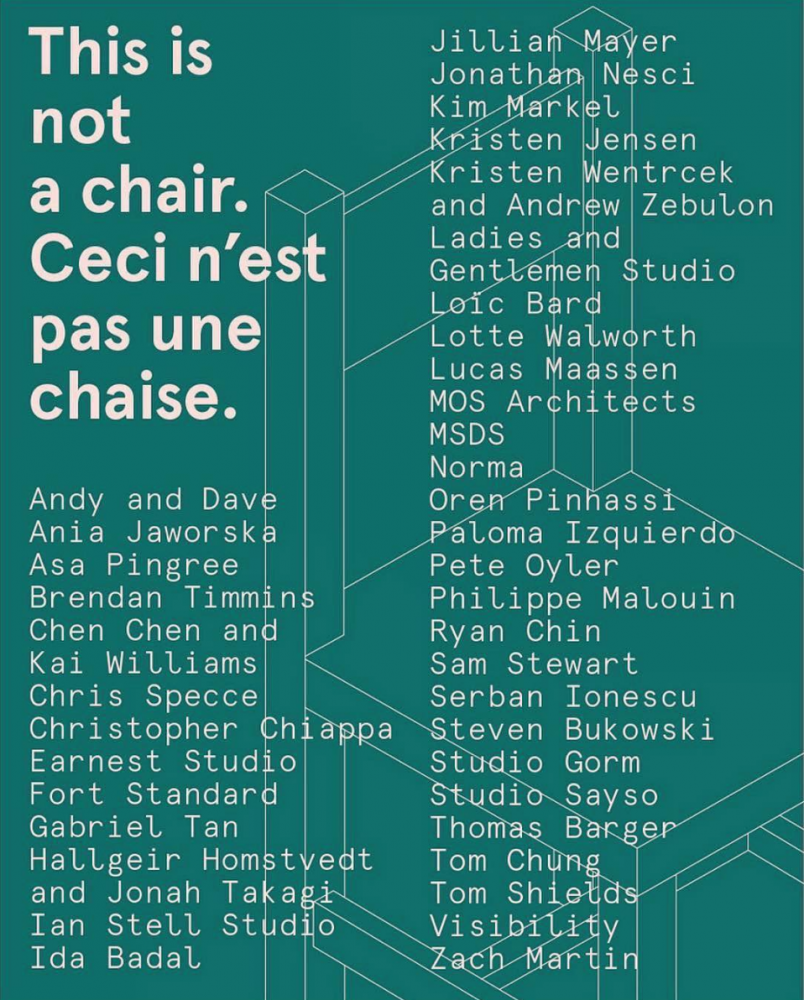 """Sam Stewart included in Standard Issue and Planet Seven's """"This is not a chair / Ceci n'est pas une chaise"""""""