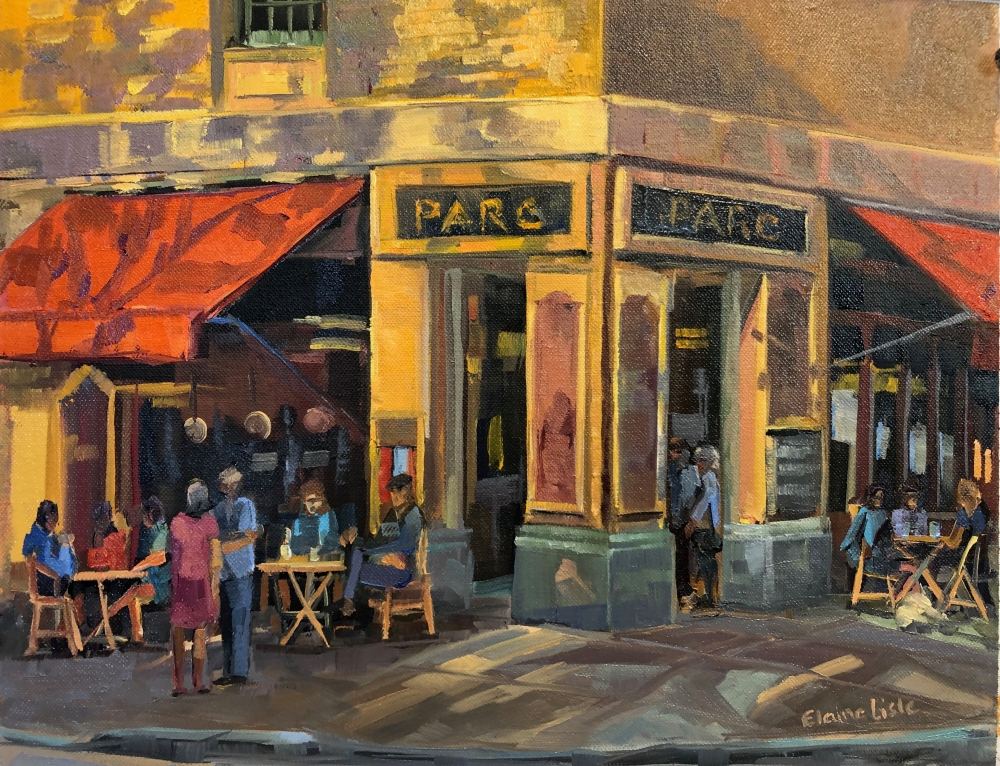 """Tea Time At Parc  11"""" x 14""""  Oil On Board"""