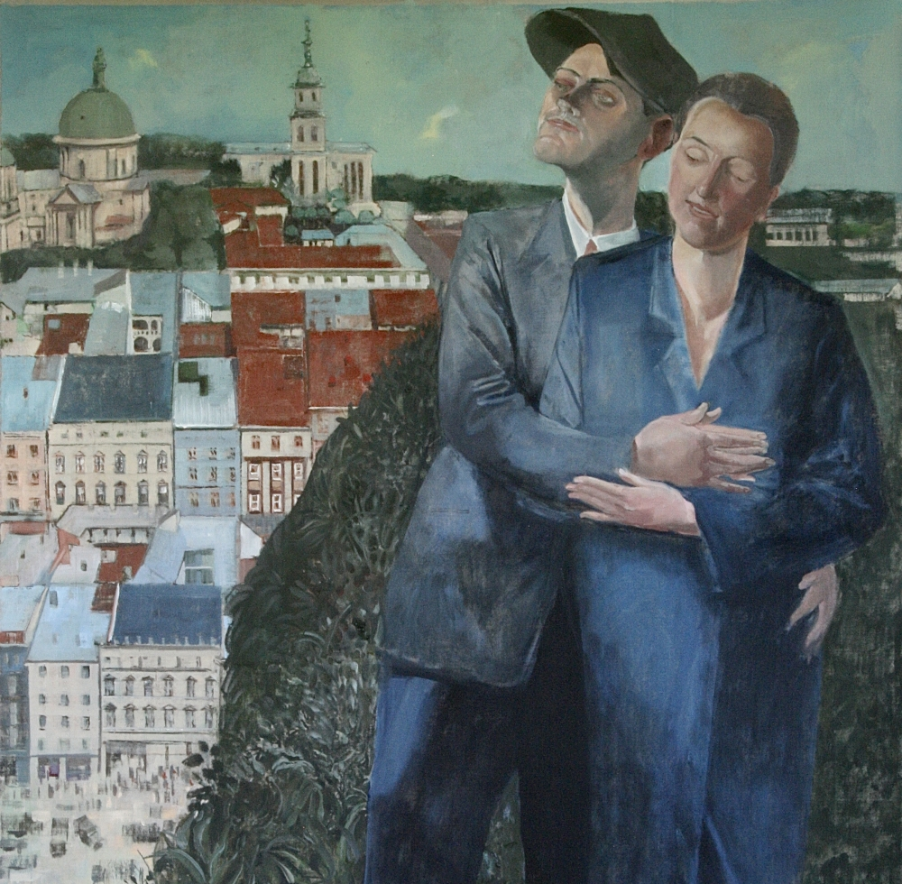 """Embrace-After Felixmuller, 53"""" x 36"""", Oil On Canvas"""