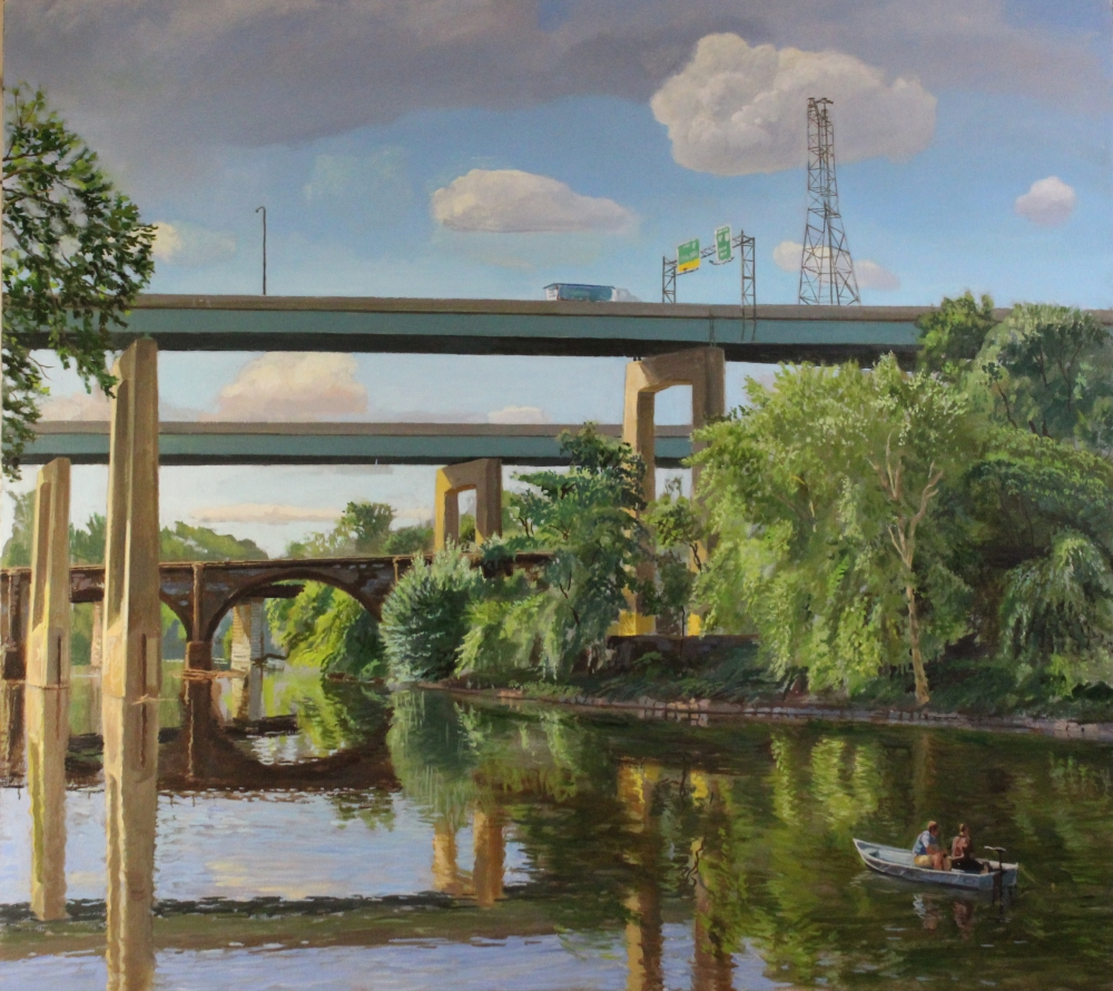 Larry Francis, Fishing At Midvale, Oil On Canvas